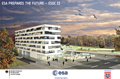 Design concept of the first, main ESOC II office building. By Hascher Jehle architectural office.